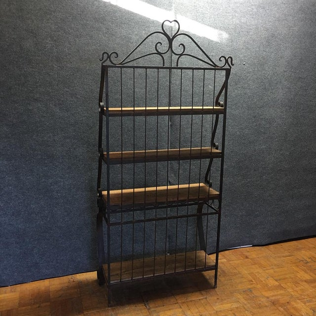 Metal Spanish-Style Iron & Wood Baker's Rack For Sale - Image 7 of 7