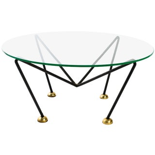 Jean Royère Style French 1940s Iron and Brass Round Coffee Table For Sale