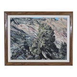 Image of Contemporary Mountain Landscape Framed Painting For Sale