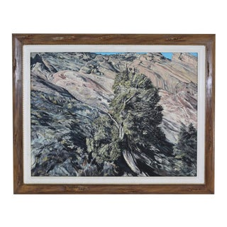 Contemporary Mountain Landscape Framed Painting For Sale