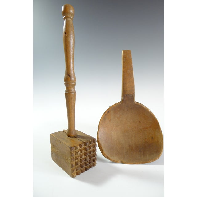 Antique Primitive Amish Wood Butter Paddle & Masher - A Pair - Image 2 of 6