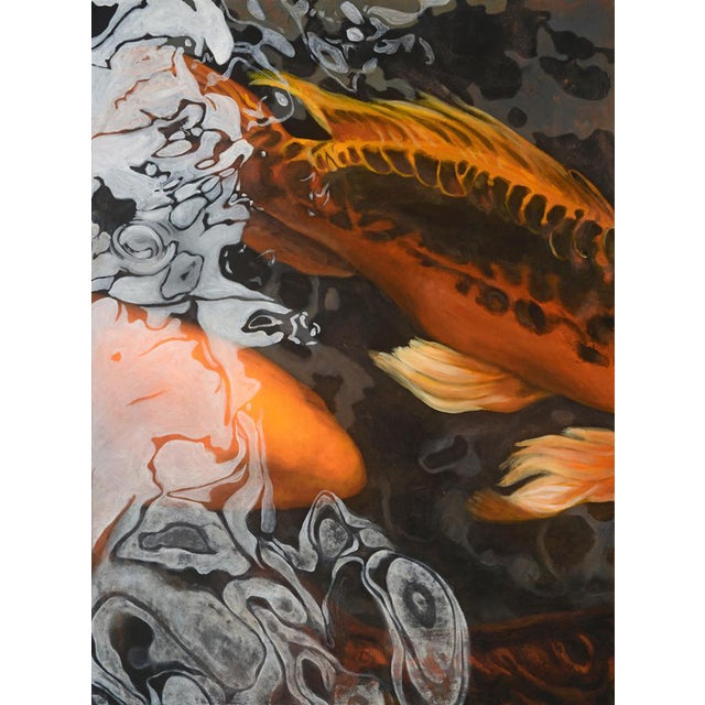 "Laurie Flaherty ""Phoenix"" Contemporary Koi Fish Realist Oil Painting For Sale"