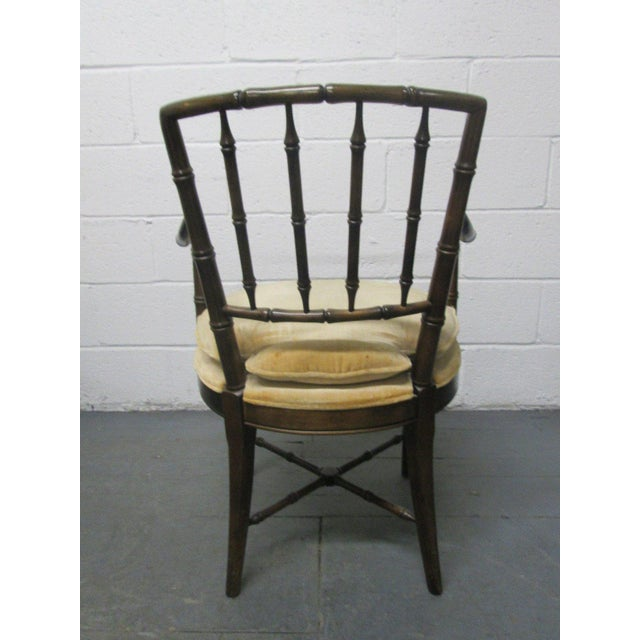 Wood Four Faux Bamboo Armchairs For Sale - Image 7 of 8