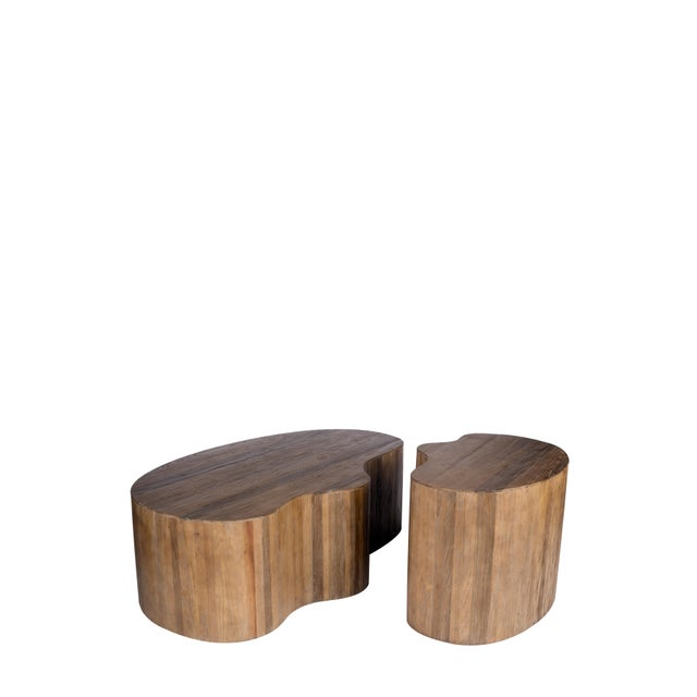 Contemporary Portia Elm Wood Side Table For Sale - Image 3 of 5