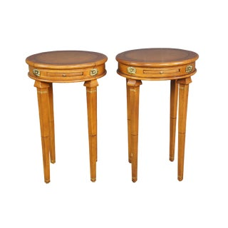 Neoclassical Style Faux Leather Tooled Side Tables - a Pair For Sale