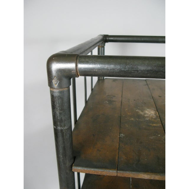 Antique 1950s Industrial Cast Iron Rolling Cart Bookcase For Sale - Image 4 of 8