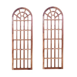 Set of 2 Orvelle Brown Mirror Frames Decorative Wall Mirror, Living Room, Wooden Accent Wall Decor, Large Wall Mirror Panel- Natural For Sale