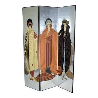 Vintage Art Deco Art Nouveau Style Tri-Fold Screen Room Divider Style of Erté Erte For Sale