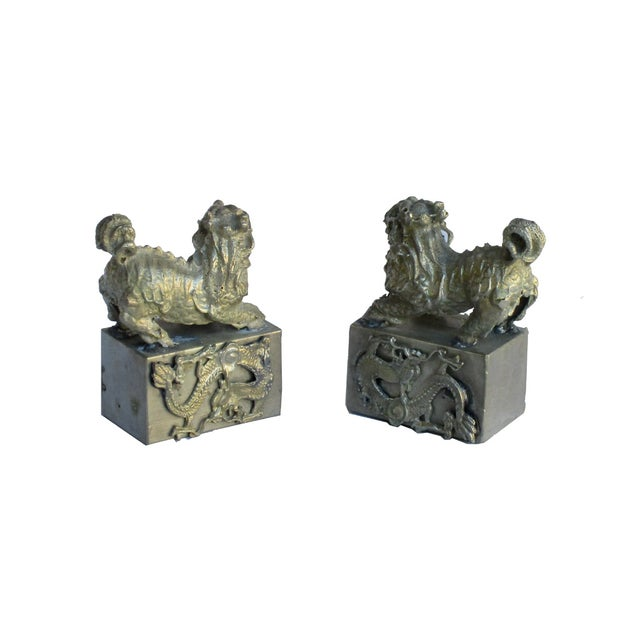 Chinese Mini Silver Metal Foo Dogs - Pair - Image 3 of 6