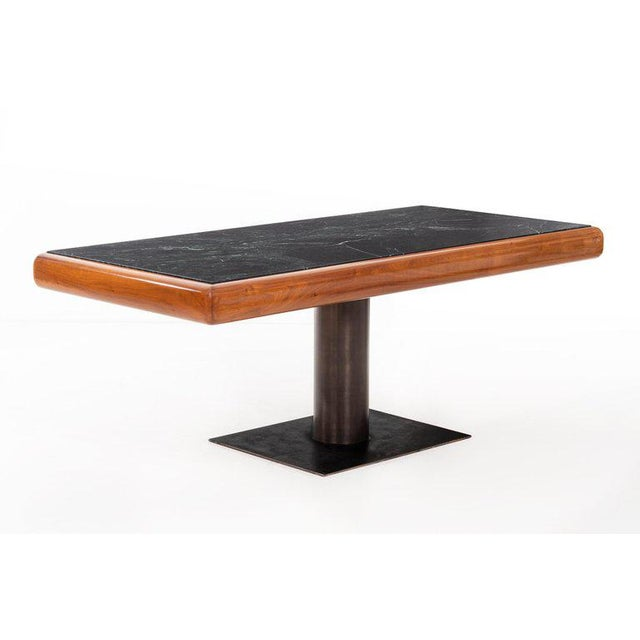 Mid-Century Modern 1960's Teak and Marble Executive Desk For Sale - Image 3 of 11