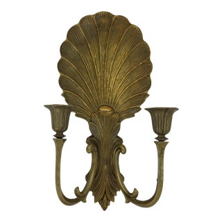 1940s Regency Brass Shell Candle Wall Sconce For Sale