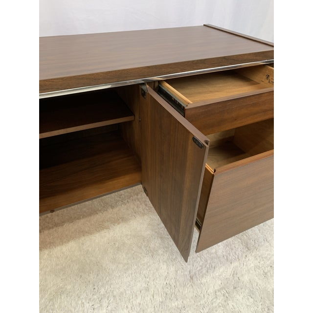 1950s 1950s Kimball Mid-Century Modern Walnut and Chrome Credenza For Sale - Image 5 of 9