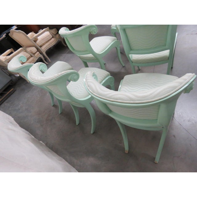 Mid 20th Century Art Deco Teal Lacquered Side Chairs - Set of 6 For Sale - Image 5 of 8