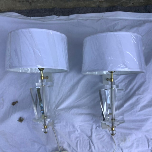 1970s Acrylic Sconces, a Pair For Sale - Image 13 of 13