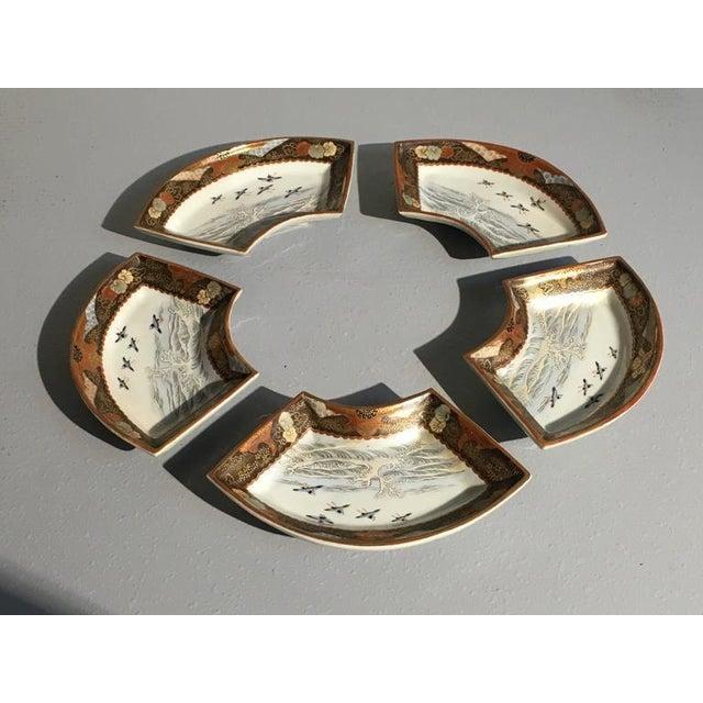 Japanese Meiji Period Kutani Fan Shaped Dishes, Set of Five - Image 3 of 10
