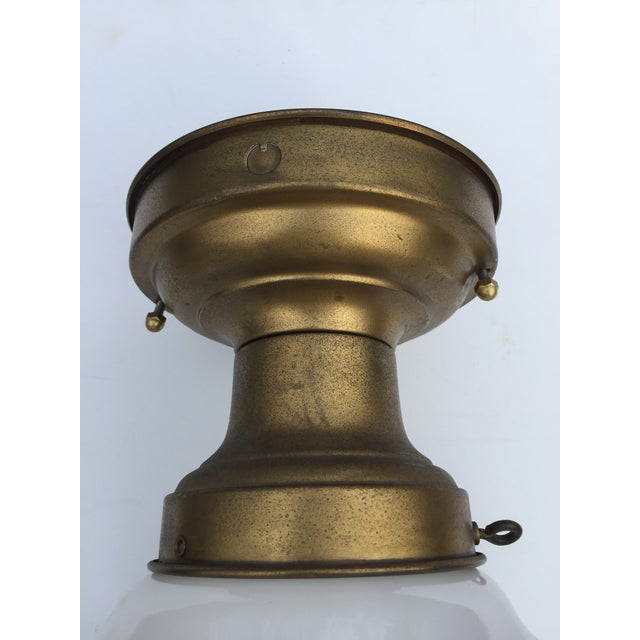 Metal Vintage Brass Flushmount Ceiling Fixture For Sale - Image 7 of 10