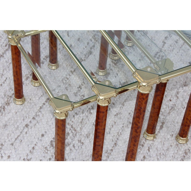 1980s Italian Brass Nesting Tables For Sale - Image 9 of 11