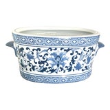 Image of Chinoiserie Oval Blue and White Ceramic Planter With Handles For Sale