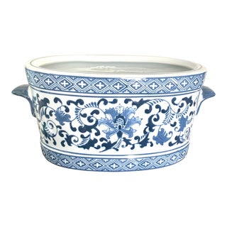 Chinoiserie Oval Blue and White Ceramic Planter With Handles For Sale