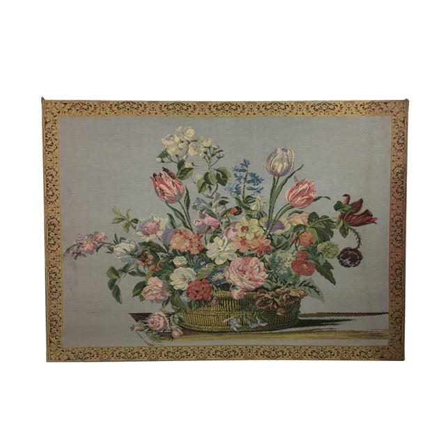 Textile Vintage English Handmade Tapestry Floral Still Life For Sale - Image 7 of 7