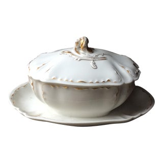 Antique French Sauce Tureen With Underliner, Limoges For Sale