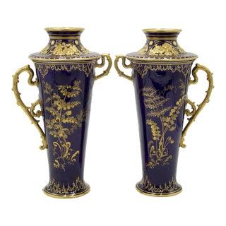 English Victorian Cobalt Blue Porcelain Vases For Sale