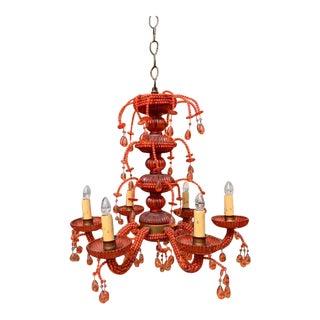 Vintage Beaded Chandelier in Coral Color For Sale
