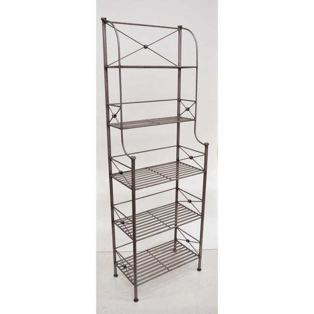 Pier 1 Medici Collection Pewter Iron Bakers Rack Shelf / Bathroom Stand Etagere For Sale - Image 9 of 11