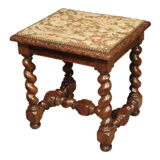 Antique Louis XIII Style Tabouret With Needlepoint, France 19th Century For Sale