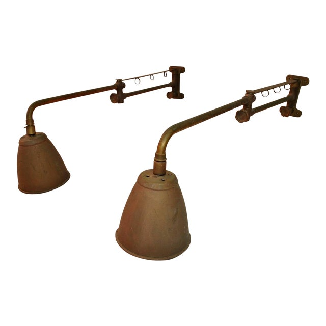 Industrial Adjustable Sconces - A Pair For Sale