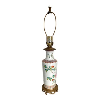 Mid-Century Chinese Porcelain Floral Table Lamp For Sale