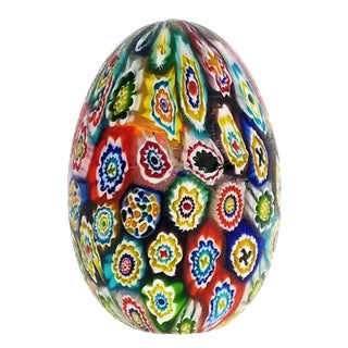 Murano Glass Millefiori Egg Paperweight by Fratelli Toso 1950s - Venetian Italian Italy Mid Century Modern MCM Palm Beach Boho Chic Vase Bowl For Sale