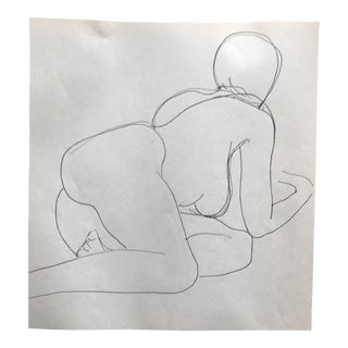 Mid-Century James Bone Posing Female Nude Drawing For Sale