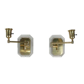 Lucite & Brass Swing Wall Sconces - A Pair