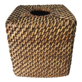 Vintage Rattan Tissue Box Cover