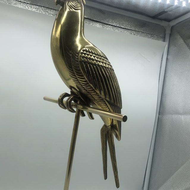 Hollywood Regency Mid Century Solid Brass Cockatoo on Perch Figurine For Sale - Image 11 of 13