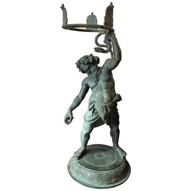 Gold 19th Century Grand Tour Patinated Bronze Silenus Lamp For Sale - Image 8 of 8
