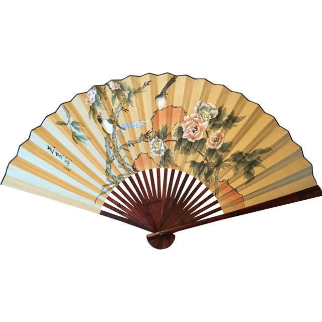 Large Hand-Painted Wall Fan - Image 1 of 6