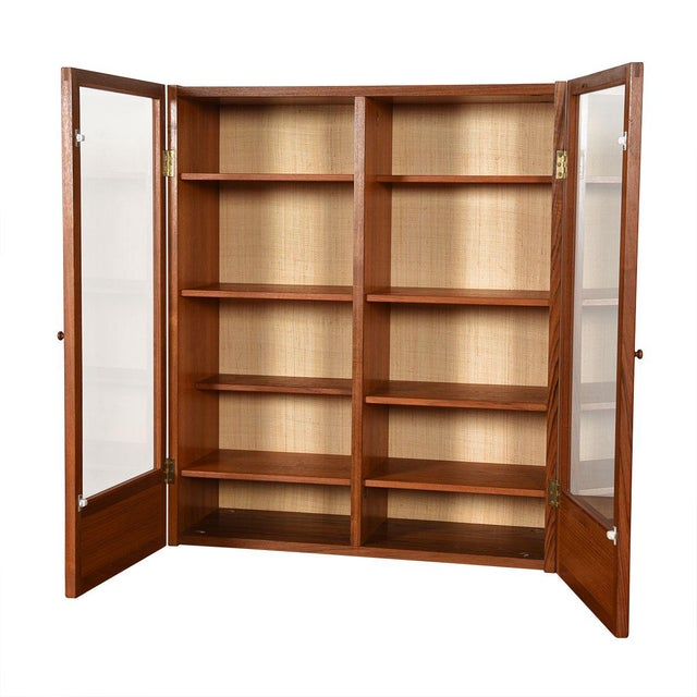Wood Danish Modern Teak Hanging Display Cabinet With Glass Doors For Sale - Image 7 of 8