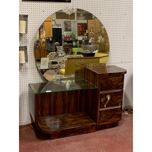 1930s Art Deco Rosewood Vanity With Round Mirror For Sale - Image 9 of 9