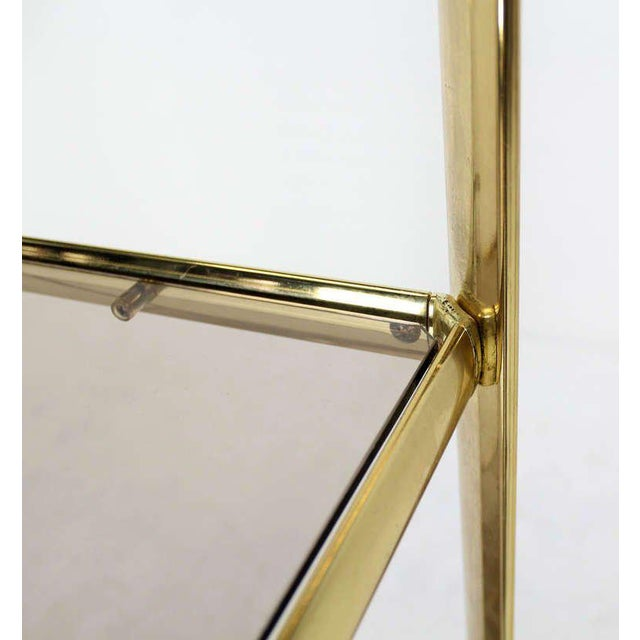 1970s Mid Century Modern Five Tier Brass and Smoked Glass Etagere Shelving Unit For Sale - Image 5 of 10