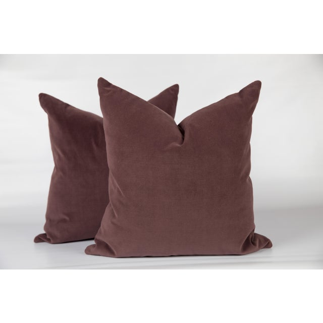 Contemporary Plum Luxe Velvet Pillows, a Pair For Sale - Image 3 of 4