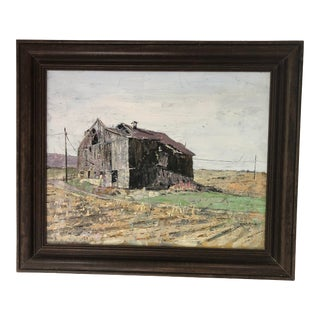 Vintage Oil Painting of Old Barn in Frame For Sale