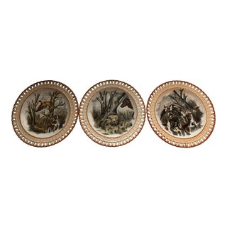 French Majolica Hunting Motif Plates - Set of 3 For Sale