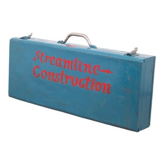 Mid-Century Hand Painted Metal Blue Toolbox C. 1950 For Sale