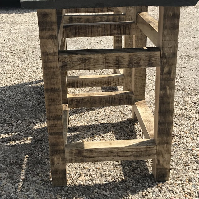 2010s Rustic Handcrafted Oak & Shale Side Tables - a Pair For Sale - Image 5 of 9