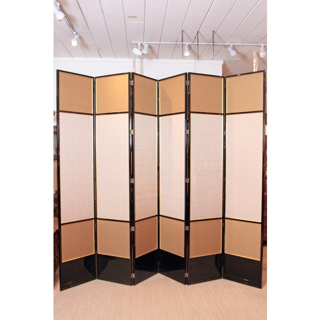 Large Neo Classical Six-Panel Black Lacquer and Fabric Screen/Room Divider - Image 2 of 11