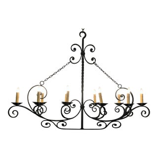 Antique French Wrought Iron Chandelier For Sale