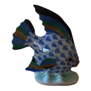 Herend Blue Porcelain Small Fish Figurine