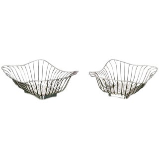 1940s Italian Silver Plate Wire Baskets - a Pair For Sale